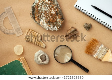 Stone samples, loop, notebook at geological laboratory. Geology rock laboratory. Laboratory for analysis of geological soil materials, stones, minerals, rocks samples for researchers- Brushing sample Сток-фото ©
