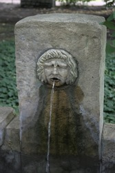Stone sculpture of a face that is at the same time a fountain.