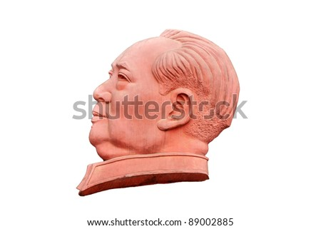 Stone sculpture of Mao Zedong isolated on white background