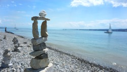 Stone sculpture on the beach of Lake Constance, Bodensee