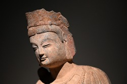 Stone sculptures and Bodhisattvas in ancient temples of China