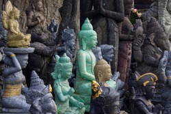 Stone sculptures in the art market of Bali, Indonesia