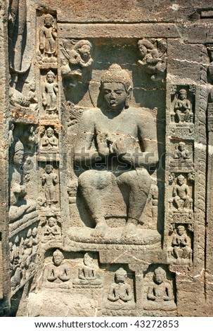 Stone sculptures on the Ancient Buddhist Rock temples at Ajanta , Maharashtra, India