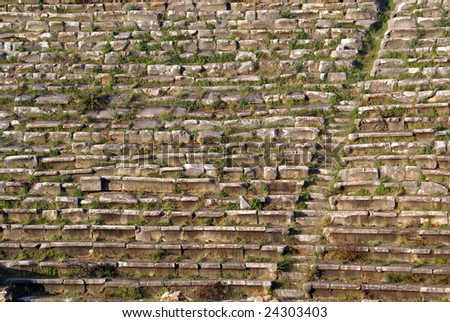 Stone seats in stadium, Aphrodisias ruins in Turkey