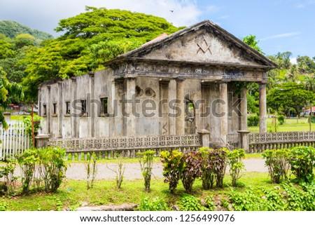 Stone shell of the South Pacific's first Masonic lodge (east. 1875). Levuka town, Ovalau island, Lomaiviti archipelago, Fiji, Melanesia, Oceania, South Pacific Ocean. Temple. UNESCO world heritage.