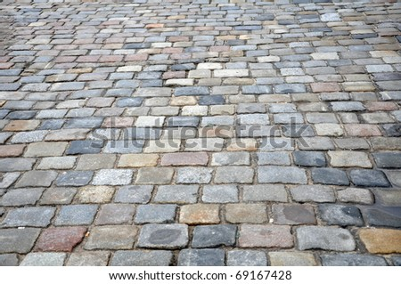 Stone sidewalk in Poznan Old Market, Poland as a background