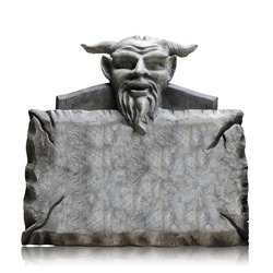Stone sign board with devil head isolated on white background, copy space and clipping path.