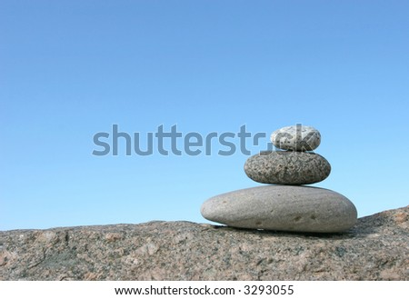 Stone stack against the clear sky