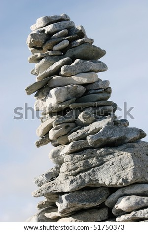 Stone stack on a beach. Abstract background