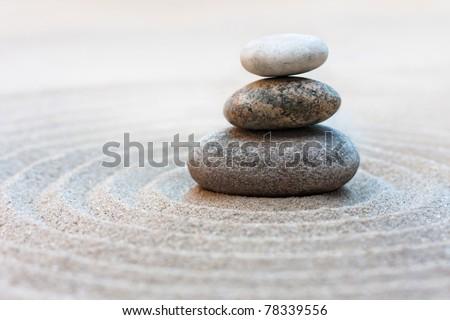 stone stack on a zen garden