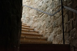 stone staircase from the basement of the castle
