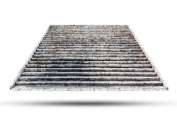 Stone staircase isolated on white background. Object with clipping path