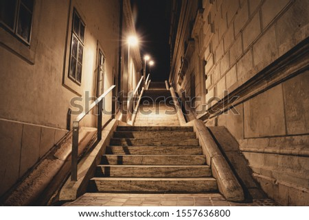 Stone stairs at night in downtown. Mystical scary vibe. Nobody on the picture. Lamps on the side.