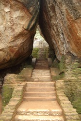 Stone stairs between two big rocks