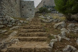 stone stairs in destroyed ruins of old medieval castle castle