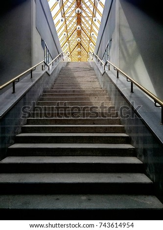 stone stairs inside Andreev's bridge Moscow #743614954