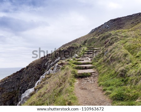 Stone stairs on the way round the coast, Ireland