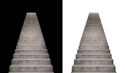 stone stairway isolated on black and white background