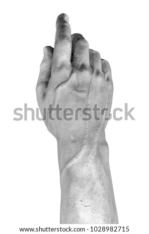 stone statue detail of human hand #1028982715