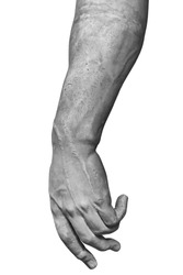 Stone statue detail of human hand isolated on white background by clipping path