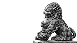 Stone statue. Guardian Lion Foo Fu dog guard.