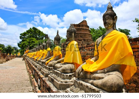 stock photo : Stone statue of a Buddha in Thailand.