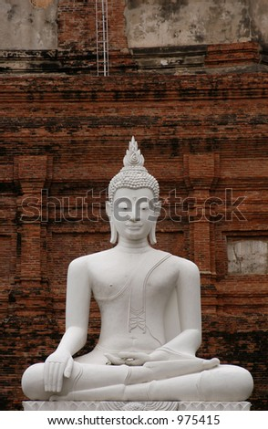 Stone statue of Buddha in the temple of Wat Yai Chai Mongkol in Ayutthaya, Thailand