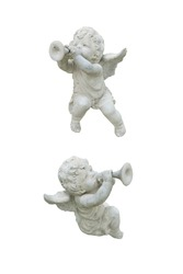 Stone statue of cupid isolate on white background