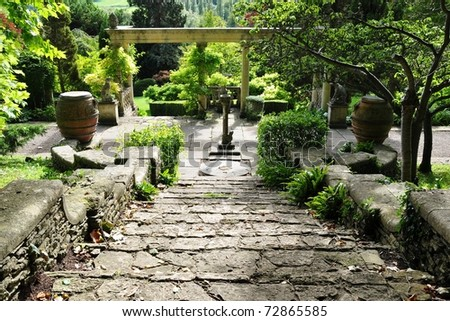 Stone Steps in a Tranquil Landscape Garden