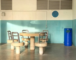 Stone stools and tables at void deck for residents to mingle