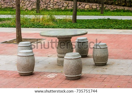 Stone tables and chairs #735751744