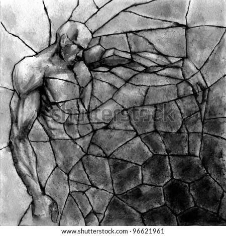 Stone titan rebirth. Abstract. Square composition. Black watercolor.