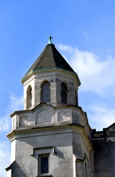 Stone tower of the historic Mercy Hill Church, Memphis, Tennessee, has