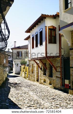 Stone traditional house in Kastoria city (Epirus, Greece)