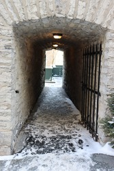stone tunnel below a house in old Quebec Canada