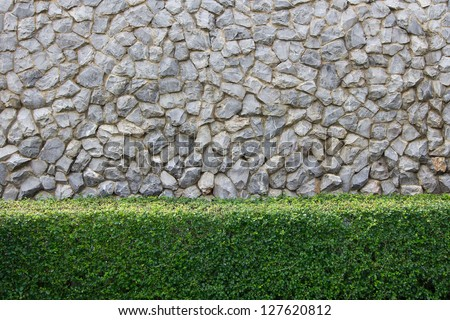 Stone wall and decorative garden
