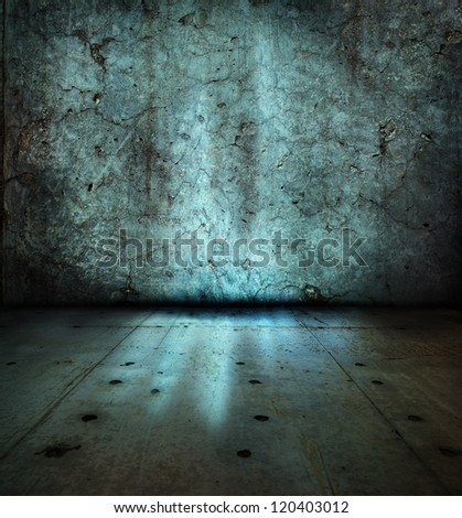 Stone wall and floor,with mysterious blue glowing light