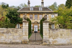 Stone Wall and Gated Entrance of a Beautiful Georgian Era English Mansion