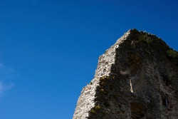 Stone wall and Sky Texture. High quality photo