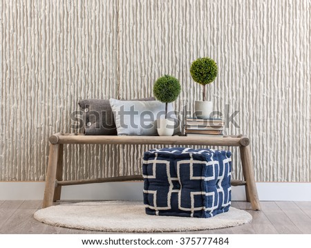 stone wall bank and rug
