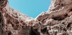 stone wall hole, rock cave window