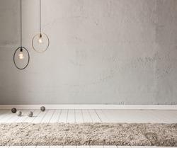 stone wall lamp modern interior decoration empty room