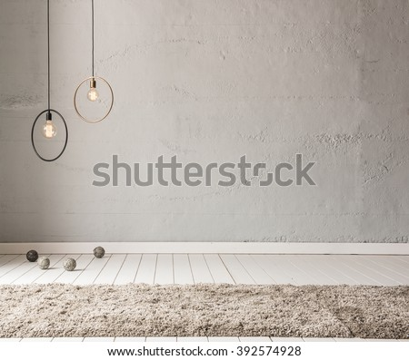 stone wall lamp modern interior decoration empty room