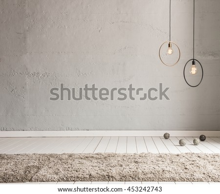 stone wall lamp modern interior decoration empty room #453242743