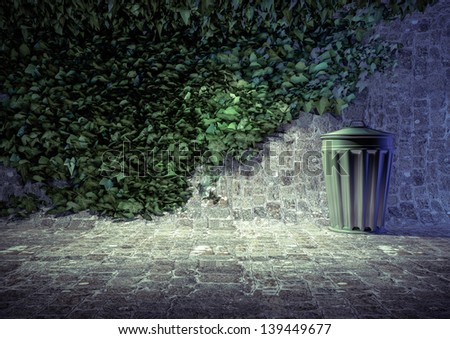 Stone wall with ivy and a metal trashcan