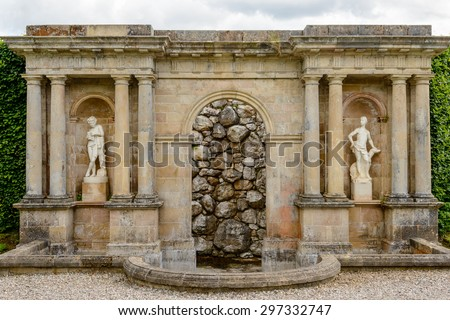 Stone water fountain at Drummond Castle and Gardens near Crieff in Perthshire, Scotland.