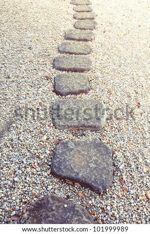 stone way in Japanese stone garden,