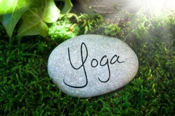 Stone with moss and work life balance, massage, relax, yoga, reiki, qi gong, ying yang