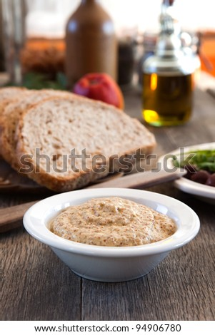 Stoneground mustard in a bowl