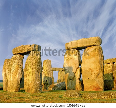 Stonehenge an ancient prehistoric stone monument near Salisbury, Wiltshire, UK, UNESCO World Heritage Site
